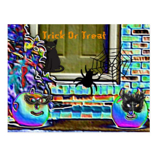 Trick Or Treat Pumpkins, Spider & Black Cat Postcard