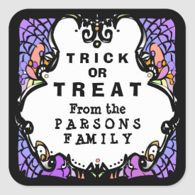 Trick or Treat Purple White & Black Halloween Square Sticker
