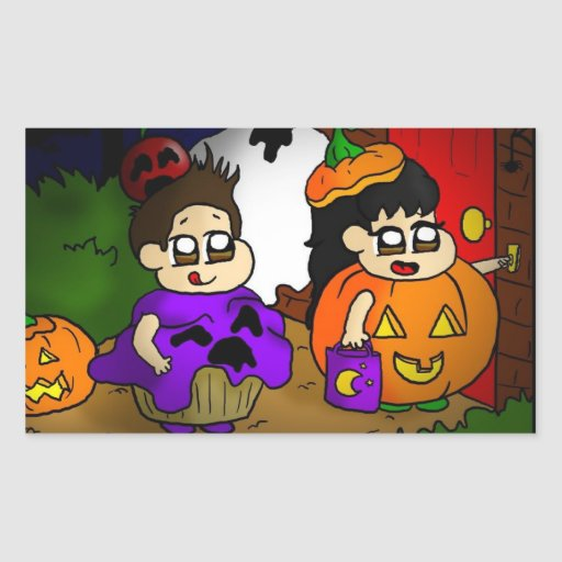 Trick or treat rectangle stickers