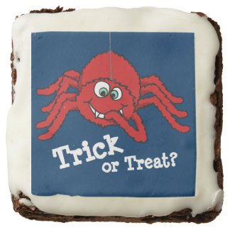 Trick or treat red fun spider graphic brownies square brownie