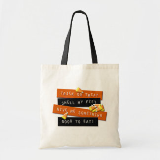 Trick or Treat rhyme sign tote bag
