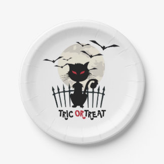 Trick Or Treat Scary Cat With Flying Bats 7 Inch Paper Plate
