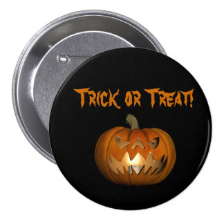 Trick or Treat Scary Face Pumpkin Button