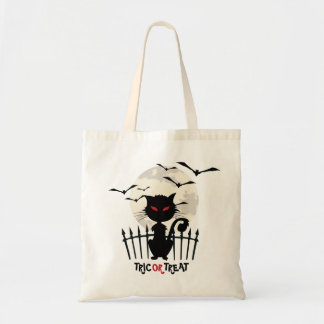 Trick Or Treat Scary Halloween Cat Budget Tote Bag