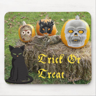 Trick or Treat Scary Pumpkins On Haystack Mouse Pads