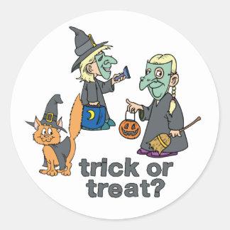 Trick Or Treat Scene Classic Round Sticker