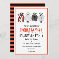 Trick or Treat Sheep in Costumes Halloween Party Invitation