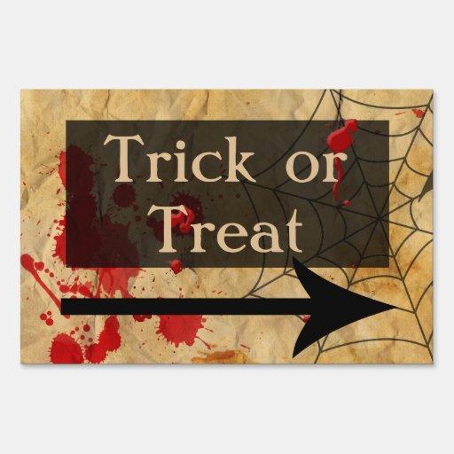 Trick Or Treat Sign With Arrow Zazzle