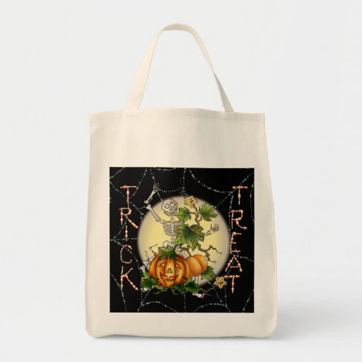 TRICK or TREAT SKELETON BAG by SHARON SHARPE