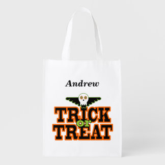 Trick or Treat Skull and Wings Tote Bag Grocery Bag