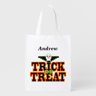 Trick or Treat Skull and Wings Tote Bag Grocery Bags