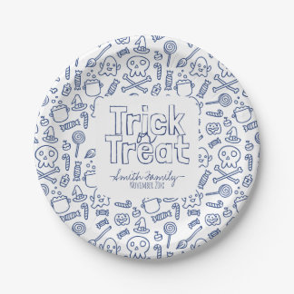 Trick or Treat Skulls Ghosts Witches and Candy Paper Plate