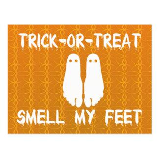 Trick or Treat Smell My Feet Halloween Postcard