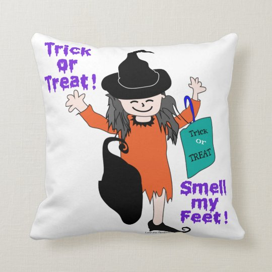 Trick or Treat Smell My Feet Throw Pillow