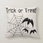 Trick or Treat Spider/Bats Throw Pillow