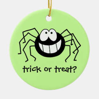 Trick or Treat Spider! Double-Sided Ceramic Round Christmas Ornament
