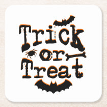 trick or treat square paper coaster