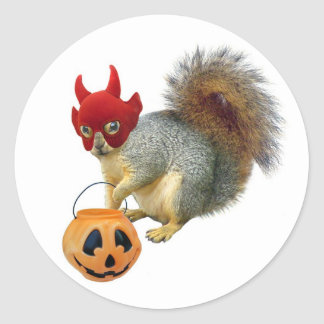Trick or Treat Squirrel Classic Round Sticker