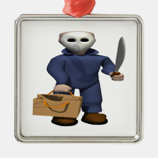 Trick Or Treat Stalker Square Metal Christmas Ornament