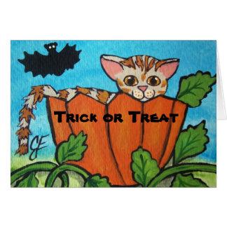 Trick or Treat Tabby Cat Halloween Pumpkin Card