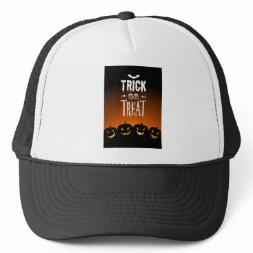 Halloween Themed Trick Or Treat Text Trucker Hat
