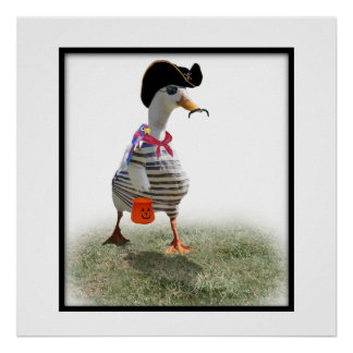 Trick or Treat Time for Pirate Duck Posters