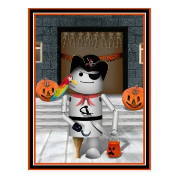 Fall_Seasons_Best Trick or Treat Time for Robo-x9 Postcard