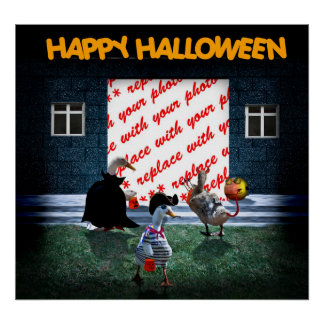 Trick or Treat Time for these Little Ducks Poster