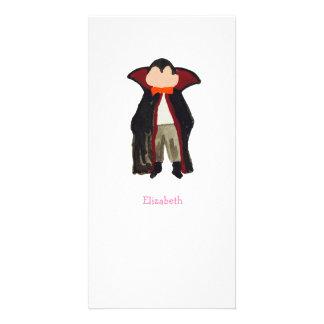 Trick or Treat Toddler Dracula Vampire Custom Name Photo Card