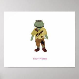 Trick or Treat Toddler Frankenstein Custom Name Poster