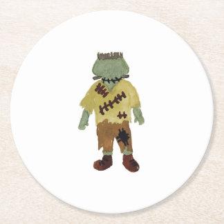 Trick or Treat Toddler Frankenstein Monster Round Paper Coaster