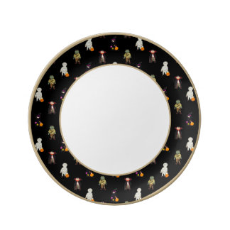 Trick or Treat Toddlers All Monsters Repeat Black Porcelain Plate