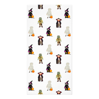 Trick or Treat Toddlers Halloween Monsters Repeat Photo Card