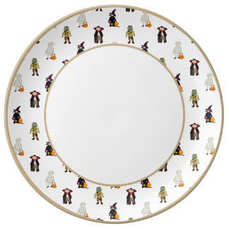 Trick or Treat Toddlers Halloween Monsters Repeat Porcelain Plates