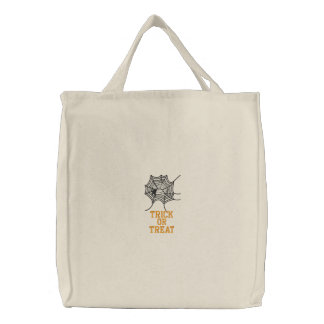 TRICK OR TREAT TOTE/BAG EMBROIDERED EMBROIDERED TOTE BAG