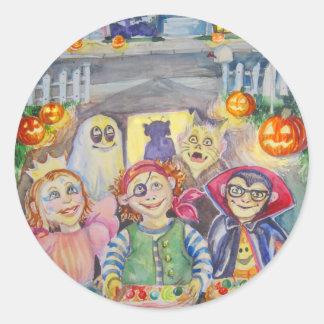 Trick or Treat! watercolor Classic Round Sticker