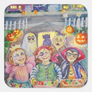 Trick or Treat! watercolor Square Sticker
