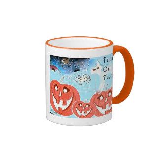Trick or Treat White Cat Ringer Mug