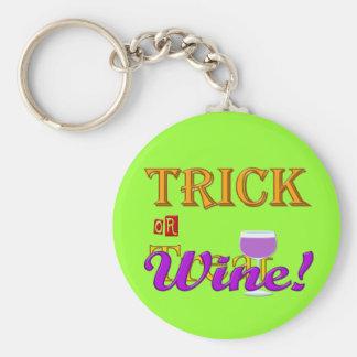Trick OR Treat Wine Halloween Design Keychain