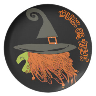 trick or treat,witch,Halloween party,halloween Plate
