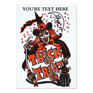 Trick or Treat Witch Halloween (vintage) Card