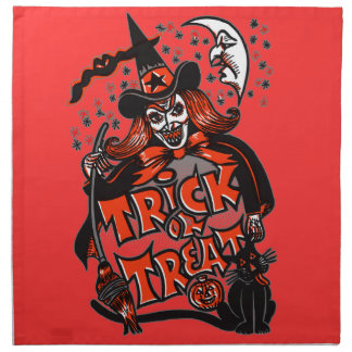 Trick or Treat Witch Halloween (vintage) Cloth Napkins
