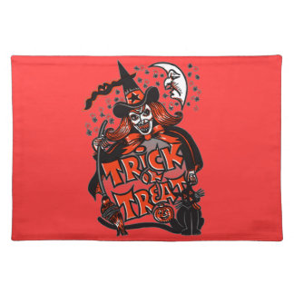 Trick or Treat Witch Halloween (vintage) Cloth Placemat