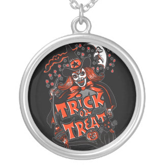 Trick or Treat Witch Halloween (vintage) Silver Plated Necklace
