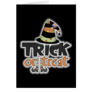 Trick Or Treat Witch Hat Halloween Card