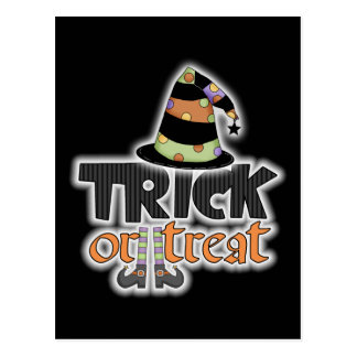 Trick Or Treat Witch Hat Halloween Postcard