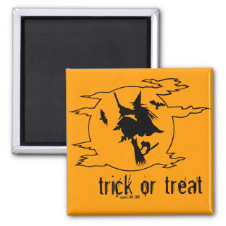 Trick or Treat Witch on Broom w/ Bats + Black Cat Magnet