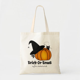 """""""Trick-Or-Treat!"""" Witch's Hat, Cats, Pumpkin #3 Tote Bag"""