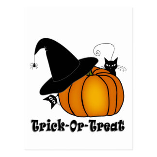 """Trick-Or-Treat!"" Witch's Hat, Cats, Pumpkin Postcard"