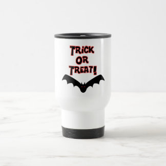 Trick or Treat with bat 15 Oz Stainless Steel Travel Mug